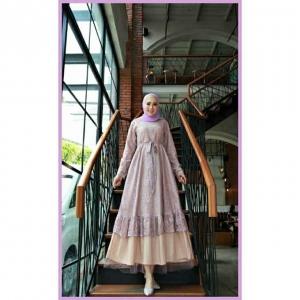 Jual Baju Gamis Cantik Terbaru Haura Two Dress warna Dusty Lilac Bahan Btrukat Cornelly