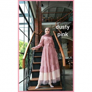 Jual Baju Gamis Cantik Terbaru Haura Two Dress warna Dusty pink bahan brukat Cornelly
