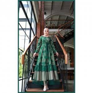 Jual Baju Gamis Cantik Terbaru Haura Two Dress warna Hijau Bahan Brukat Cornelly