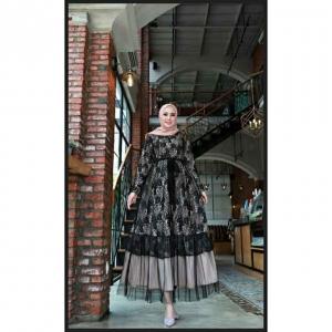 Jual Baju Gamis Cantik Terbaru Haura Two Dress warna Hitam Bahan Brukat Cornelly