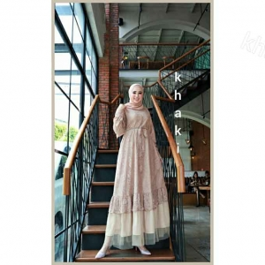 Jual Baju Gamis Cantik Terbaru Haura Two Dress warna Khaki Bahan Brukat Cornelly