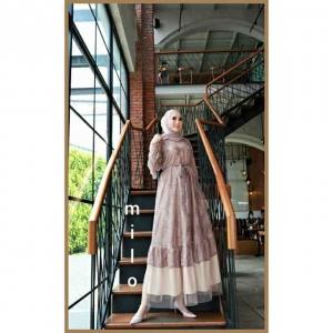 Jual Baju Gamis Cantik Terbaru Haura Two Dress warna Milo Bahan Brukat Cornelly