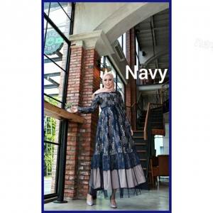 Jual Baju Gamis Cantik Terbaru Haura Two Dress warna Navy bahan Brukat Cornelly
