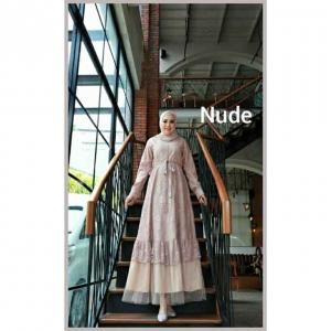 Jual Baju Gamis Cantik Terbaru Haura Two Dress warna Nude Bahan Brukat Cornelly