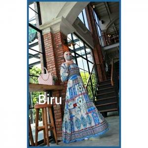 Jual Baju Gamis Katun Aufa Etnik Warna Biru bahan Rayon Premium