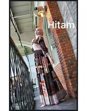 Jual Baju Gamis Katun Aufa Etnik Warna Hitam Bahan Rayon Premium