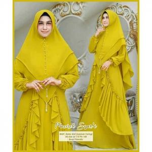 Jual Online Baju Gamis Maurel Syare'i Pesta warna Lemon Bahan Ceruty Baby Doll