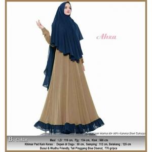 Jual Online Baju Gamis Pesta Murah Aliza Syar'i warna Coklat Bahan Ceruty