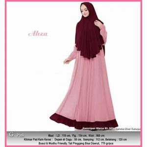 Jual Online Baju Gamis Pesta Murah Aliza Syar'i warna Pink Bahan Ceruty Baby Doll