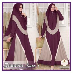 Supplier Baju Gamis Samara Syari Polos warna Dark Purple Brown Bahan Moscrepe