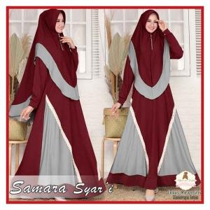 Supplier Baju Gamis Samara Syari Polos warna Maroon Grey Bahan Moscrepe