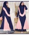 Supplier Baju Gamis Samara Syari Polos warna Navy Peach Bahan Moscrepe