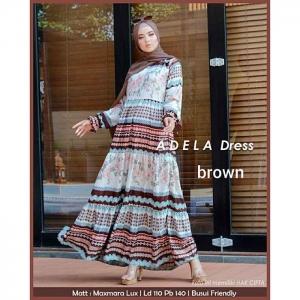 Baju Gamis Murah Dan Cantik Adela dress warna Brown bahan Maxmara lux