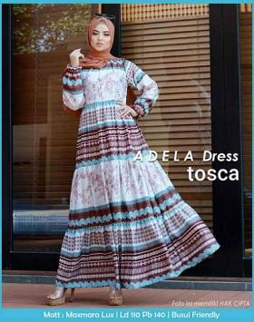 Baju Gamis Murah Dan Cantik Adela dress warna Tosca Bahan Maxmara lux
