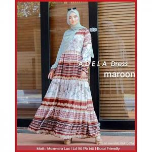 Baju Gamis Murah Dan Cantik Adela dress warna maroon Bahan Maxmara lux