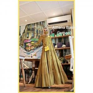 Jual Baju Gamis Katun Modern Amena Basic warna Lemon Bahan Rayon Twill