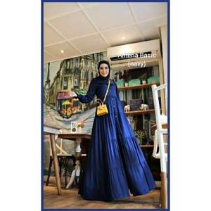 Jual Baju Gamis Katun Modern Amena Basic warna Navy Bahan Rayon Twill