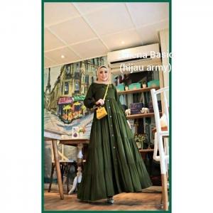 Jual Baju Gamis katun Modern Amena Basic warna Hijau Army Bahan Rayon Twill
