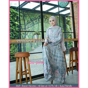 Gamis Daily Cantik Tiffany Dress warna abu Pink bahan rayon viscose