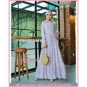 Gamis Daily Cantik Tiffany Dress warna baby Pink Bahan Rayon Viscose