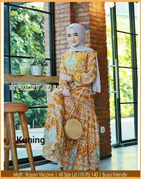 Gamis Daily Cantik Tiffany Dress warna kuning Bahan Rayon Viscose
