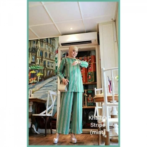 Jual Busana Muslim Trendy 2021 bahan Rayon Khaliza Stripe warna Mint