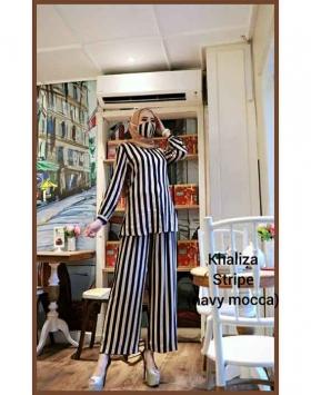 Jual Busana Muslim Trendy 2021 bahan Rayon Khaliza Stripe warna Navy Mocca