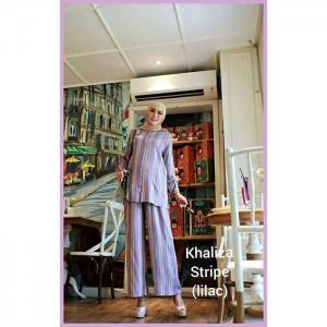 Jual Busana Muslim Trendy 2021 bahan Rayon Khaliza Stripe warna lilac