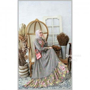 Supplier baju Gamis Pesta Mewah Elegan Dyra Dress warna Abu Bahan Ceruty Baby Doll