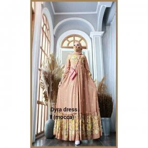 Supplier baju Gamis Pesta Mewah Elegan Dyra Dress warna Mocca Bahan Ceruty baby doll