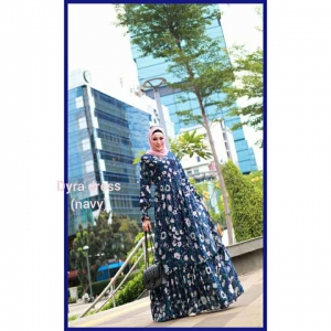 Supplier baju Gamis Pesta Mewah Elegan Dyra Dress warna Navy Bahan Ceruty baby doll