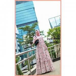 Supplier baju Gamis Pesta Mewah Elegan Dyra Dress warna Peach Bahan Ceruty baby doll