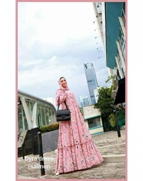 Supplier baju Gamis Pesta Mewah Elegan Dyra Dress warna Salmon Bahan Ceruty baby doll