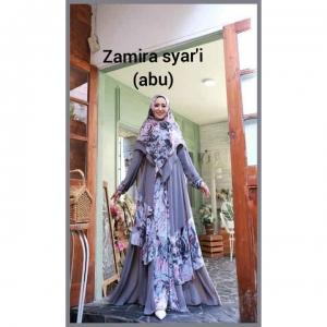 Baju Gamis Pesta Terbaru 2021 Zamira Syar'i warna Abu Bahan ceruty
