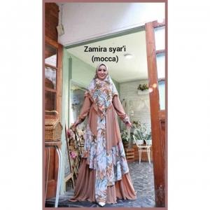 Baju Gamis Pesta Terbaru 2021 Zamira Syar'i warna Mocca Bahan ceruty