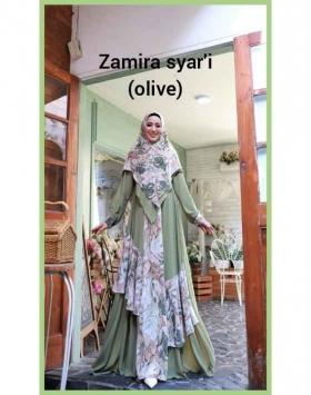 Baju Gamis Pesta Terbaru 2021 Zamira Syar'i warna Olive Bahan ceruty