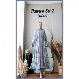 Baju Setelan Celana Hijab Terbaru Kekinian Hawwa Set 2 Warna Abu Bahan Cotton Armani