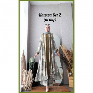 Baju Setelan Celana Hijab Terbaru Kekoinian Hawwa Set 2 Warna Army Bahan Cotton Armani