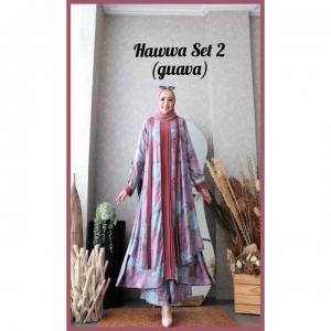 Baju Setelan Celana Hijab Terbaru Kekinian Hawwa Set 2 Warna Guava Bahan Cotton Armani