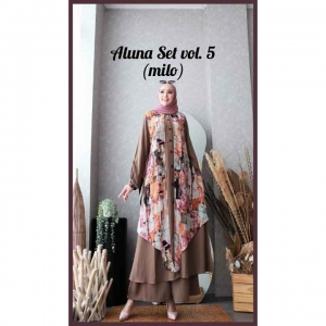 Baju Setelan Celana Hijabers Anggun Aluna Set Vol.5 Warna Milo Bahan wollycrepe