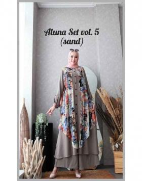 Baju Setelan Celana Hijabers Anggun Aluna Set Vol.5 Warna Sand Bahan wollycrepe