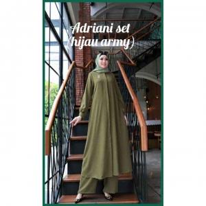 Baju Setelan Celana Muslim Anggun Adriani Set Warna Hijau army Bahan Airflow Rubiah Importr
