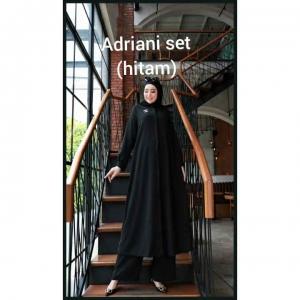 Baju Setelan Celana Muslim Anggun Adriani Set Warna Hitam Bahan Airflow Rubiah Import