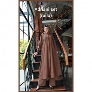 Baju Setelan Celana Muslim Anggun Adriani Set Warna Milo Bahan Airflow Rubiah import