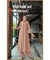 Baju Setelan Celana Muslim Anggun Adriani Set Warna Mocca Bahan Airflow Rubiah import