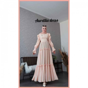 Baju gamis Polos Cantik Aurelia Dress warna Cream Bahan Crepe