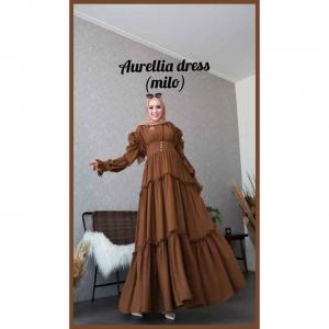 Baju gamis Polos Cantik Aurelia Dress warna Milo Bahan Crepe