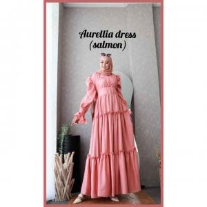 Baju gamis Polos Cantik Aurelia Dress warna Salmon Bahan Crepe