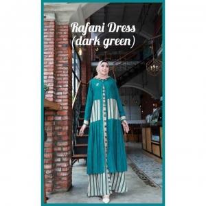 Dress Muslimah Modis dan Kekinian Anggun Rafani Dress warna Dark Green Bahan Cotton Linen