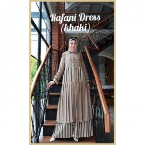 Dress Muslimah Modis dan Kekinian Rafani Dress warna Khaky Bahan Cotton Linen motif salur